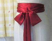Ruby Red Satin Sash Belt.