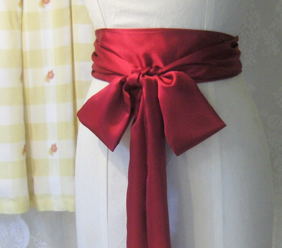 Ruby Red Satin Sash Belt.