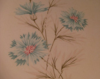 5 Retro Dinner Plates, Boutonniere Taylor, Smith Taylor, MidCentury, aqua flowers thistles, 1950s 1960s china, TheRetroLife