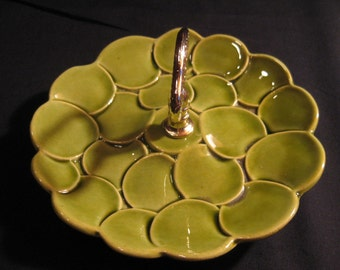 Retro Mod Avocado Tidbit Tray Ceramic Circles, 1960s 1970s art pottery serving dish, Mad Men, TheRetroLife