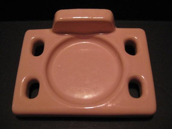 Retro Pink Toothbrush Holder Ceramic Tile Vintage Ceramic