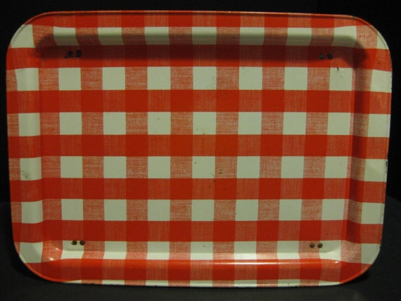 TV Dinner Snack Tray Table, Red and White Checked Tin, Folding Legs, vintage, red and white, housewares, tv tray table, gingham checks, tv dinner table, 1960s sixties 60s, 1950s fifties 50s, midcentury, folding legs, retro, valentines day, lap desk, retro