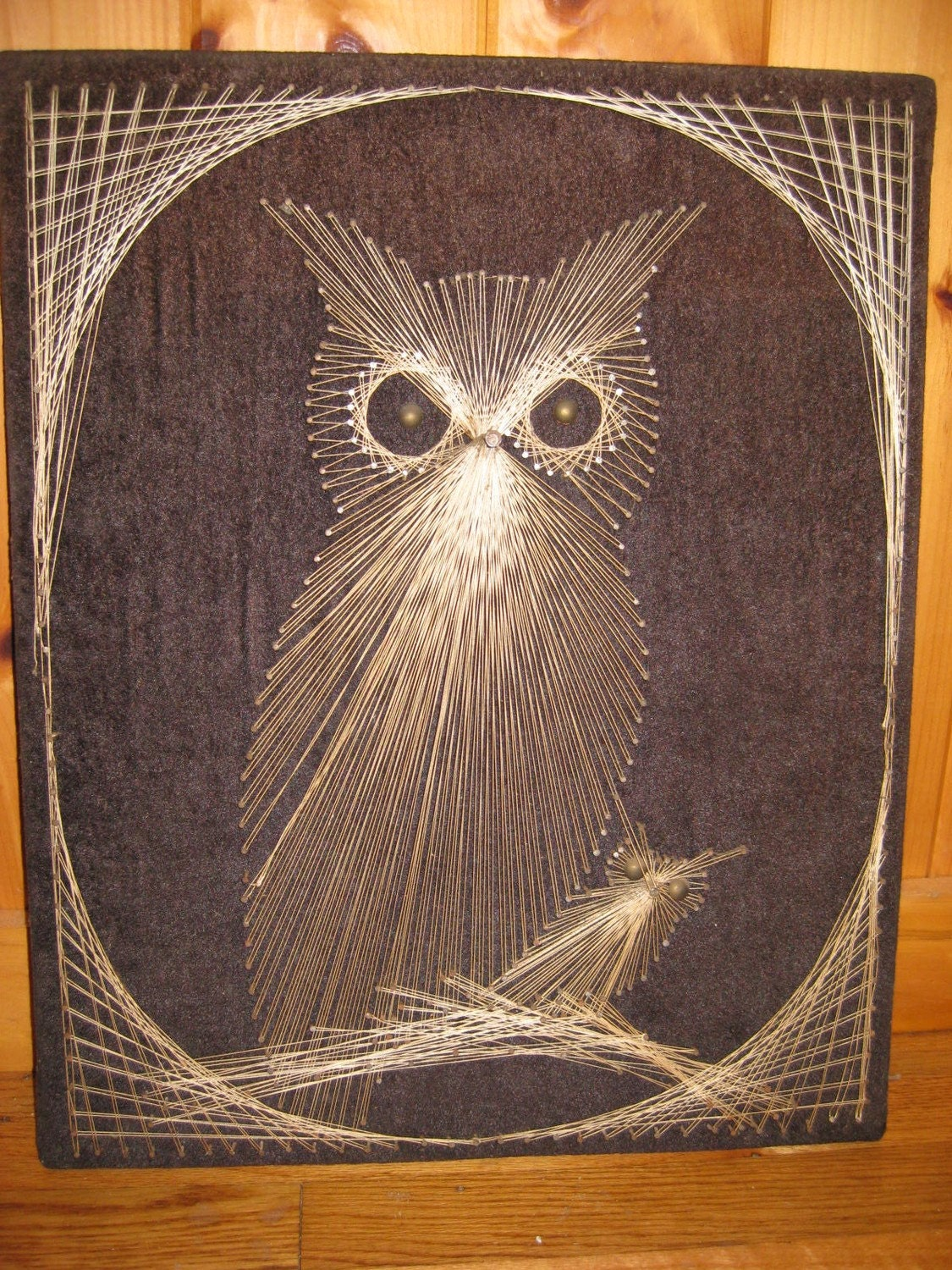 Retro Mod Sixties Owls String Art Baby Owl String Painting