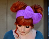 Purple Sparkle Crocheted Headband/Earwarmer with Bow - Little Bow Chic SPARKLE MOTION by TinyTangerines