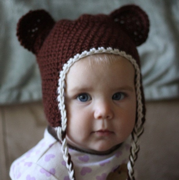 Custom Crochet Brown Teddy Bear Hat Beanie With Earflaps and Braids - Newborn to Adult Sizes