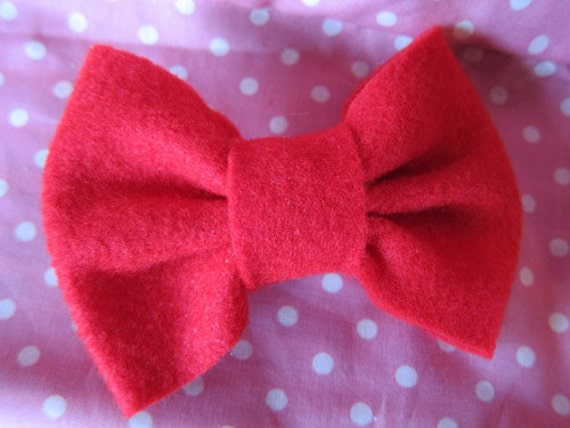 Red Felt Hair Bow with Alligator Clip - Little Bow Chic by TinyTangerines