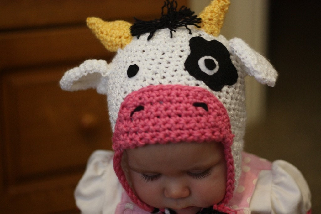 Custom Crochet Cow Hat Beanie With Earflaps and Braids