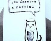 CARD - You deserve a martini BLACK LINOCUT kitty cat