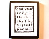 LINOCUT PRINT - And your very flesh... BLACK letterpress poster Walt Whitman