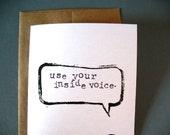 CARD - Use your inside voice BLACK LINOCUT print