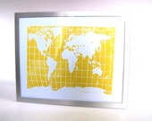 LINOCUT PRINT - world map YELLOW letterpress poster 8x10