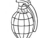 LINOCUT PRINT - Hand grenade BLACK letterpress poster 8x10
