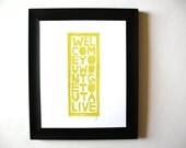 LINOCUT PRINT - Welcome YELLOW block print 8x10 letterpress poster - typography
