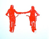 LINOCUT PRINT - Holding hands LETTERPRESS red bicycle poster 8x10