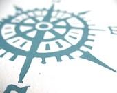 Nautical compass linocut print - 8x10 hand pulled minimal letterpress marine poster in blue-grey