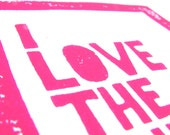 CARD - I love the sh.t out of you - hot pink LINOCUT mini print / greeting card