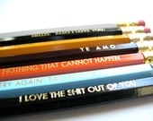 6 PENCILS - Your custom selection of 6 colorful back to school GRAPHITE HEX pencils w/ a hand-stamped kraft pencil box