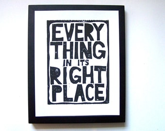LINOCUT PRINT - Radiohead BLACK letterpress typography poster 8x10 everything in its right place
