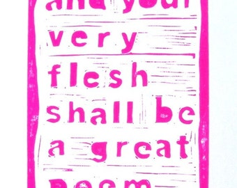 LINOCUT PRINT - Your very flesh shall be... LETTERPRESS hot pink poster 8x10 Walt Whitman quote