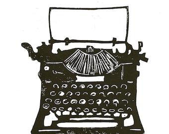 LINOCUT PRINT - Antique typewriter BLACK letterpress poster 8x10
