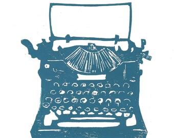 LINOCUT PRINT - Antique typewriter BLUE letterpress poster 8x10