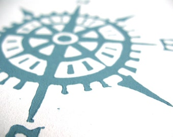 Nautical compass linocut print - 8x10 hand pulled minimal letterpress marine poster in blue-grey