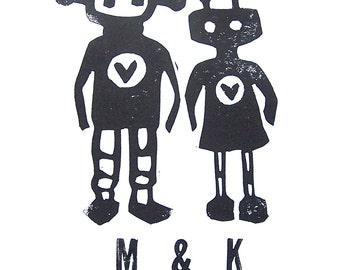 LETTERPRESS PRINT - Custom monogram print - robots in love BLACK linocut print 8x10 Valentine print