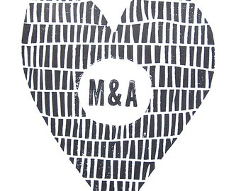 LETTERPRESS PRINT - Custom Valentine wedding monogram initials heart BLACK linocut print 8x10