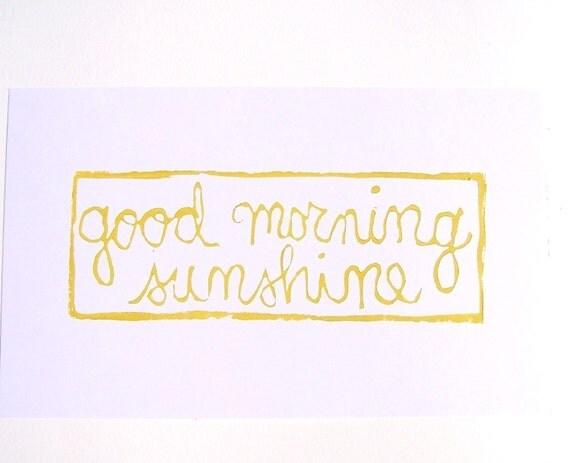 PRINT - Good morning sunshine MUSTARD YELLOW BLOCK PRINT 8x10