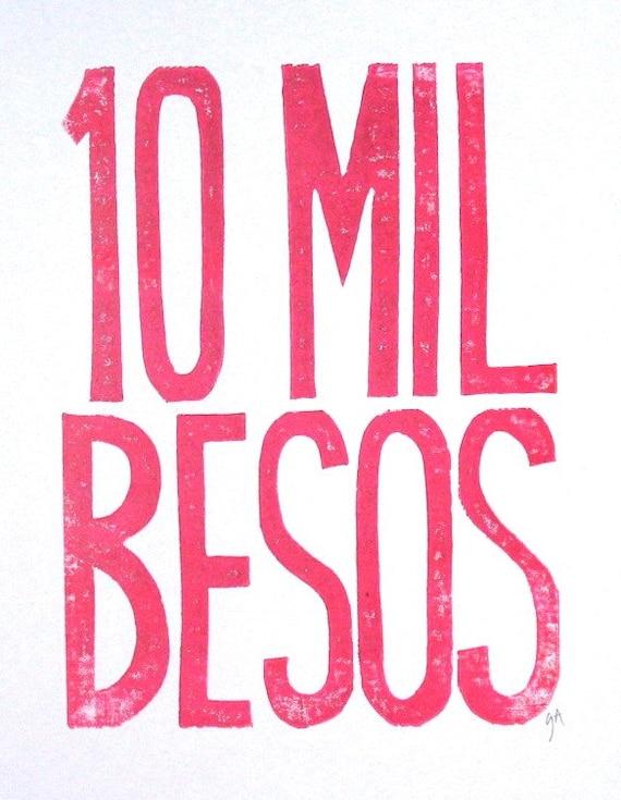 LINOCUT PRINT - 10 mil besos LETTERPRESS pink plum typography poster 8x10