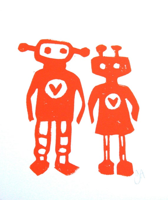 Linocut Print - Robots in love ORANGE minimal letterpress poster 8x10