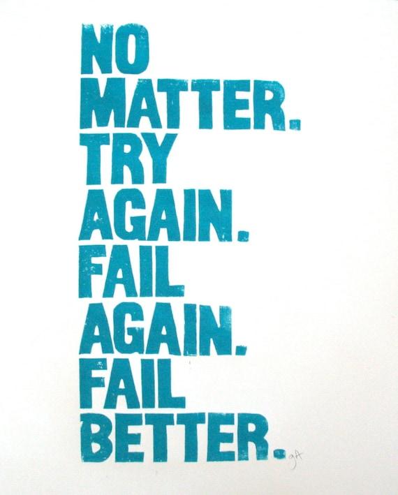 POSTER - Samuel Beckett quote 16x22 TURQUOISE BLUE linocut letterpress - No matter