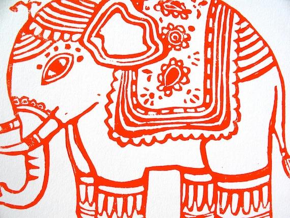 LINOCUT PRINT - ganesha elephant 8x10 red orange poster Indian elephant art