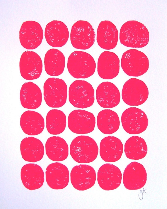 LINOCUT PRINT - 30 dots - hot pink letterpress print 8x10