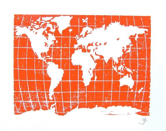 LINOCUT PRINT - world map ORANGE letterpress poster 8x10