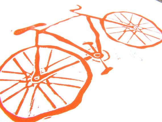 PRINT - Vintage bicycle ORANGE LINOCUT 8x10 bike letterpress poster