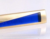 Cobalt blue gold metal abstract mens tie clip
