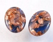 50s copper and cobalt shimmer art glass ovals vintage clip on earrings