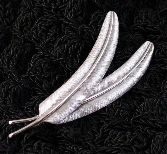 Sterling silver late 1940's double feather signed pin