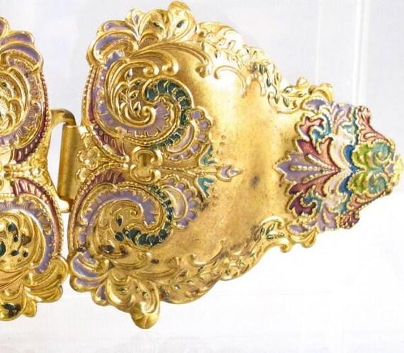 Antique art Nouveau enamel detailed metal belt buckle