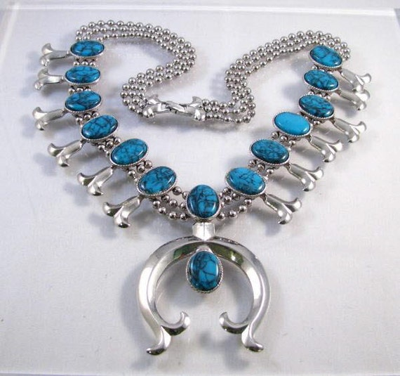 70s Goldette squash blossom style statement necklace