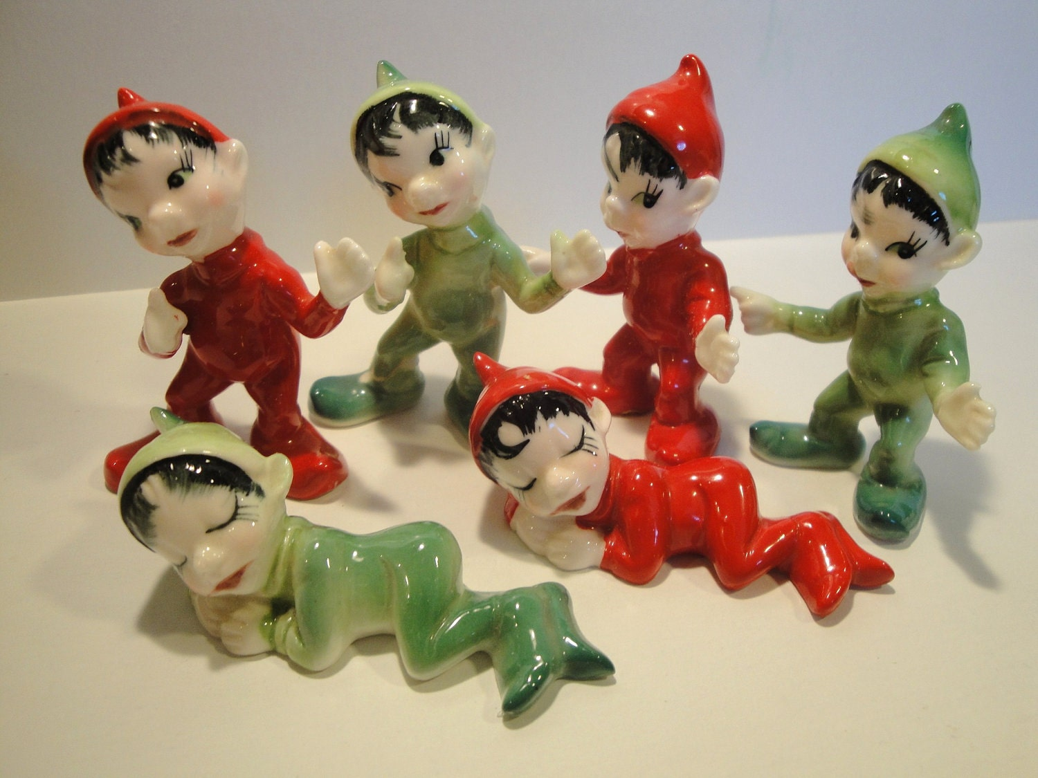 Vintage 1950s Red And Green Bone China Christmas Elves