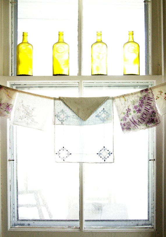 Window Valance, vintage napkins and embroidered linens, Wisconsin Violets