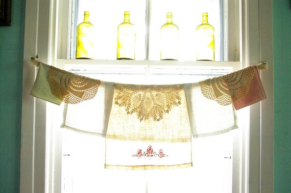 Window Valance, embroidered linens and crocheted doilies, Summer Sherbert