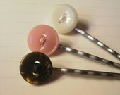 Neapolitan Ice Cream Button Bobby Pin Set
