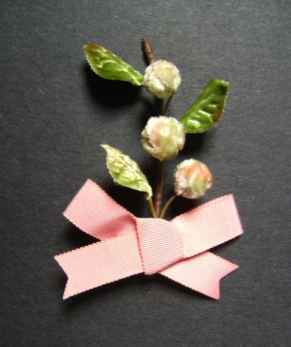Barely Budding Pin Brooch, handmade with vintage millinery trim