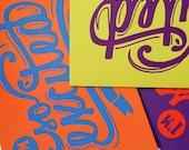 Greeting Card Set, So Excited 3pk , Orange Purple Yellow Song Lyric Typography Art