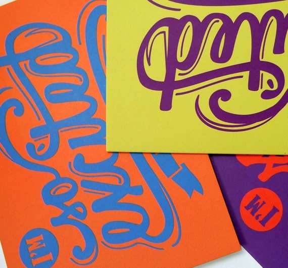 Greeting Card Set, So Excited 3pk , Orange Purple Yellow Song Lyric Typography Art