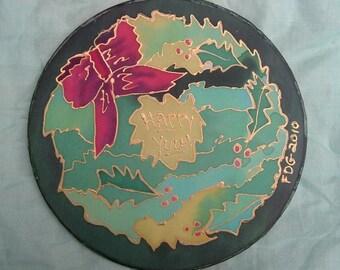 Yule Wreath Silk Painting