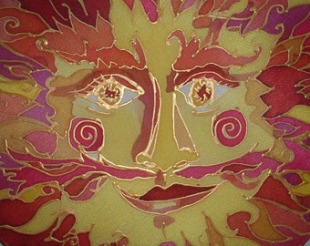 Solstice Sun - - One of a Kind Silk Painting